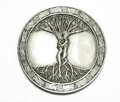 antique silver coloured buckle celtic tree of original bergamot