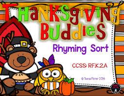 thankful buddies rhyming sort thanksgiving file folder