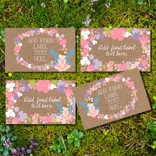 flower fairy party tent cards food labels buffet cards food