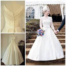50 s style wedding dresses discount three quarter sleeve wedding dress bateau neckline