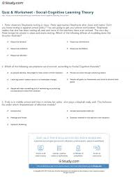 quiz u0026 worksheet social cognitive learning theory study com