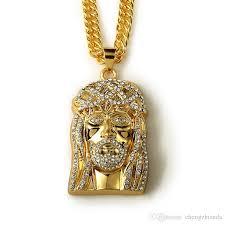 jesus necklace images Wholesale iced out jesus face piece pendant necklace 91cm long jpg