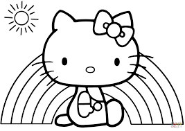 hello kitty rainbow coloring page free printable coloring pages
