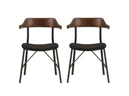 walnut wooden dining chairs with black metal legs modern