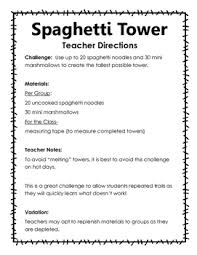 Challenge Directions Stem Challenge Spaghetti And Marshmallow Tower By Blythe