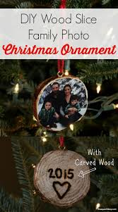 photo wood slice ornaments the of a boy