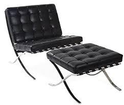 Ottoman Chair Barcelona Chair Ottoman Black Aniline Leather
