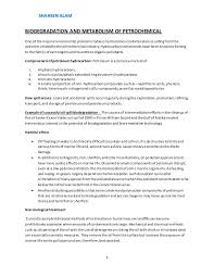 Job Description In Resume by Petrochemical Biodegradation