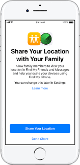 your location with your family apple support