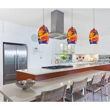 multi colored hanging lights kitchen drop lights color glass above kitchen counter large glass
