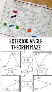 Angle Bisectors Worksheet Exterior Angle Theorem Maze Solving Equations Exterior Angles