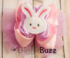 easter hair bows easter bunny pink and lavender stacked hair bow
