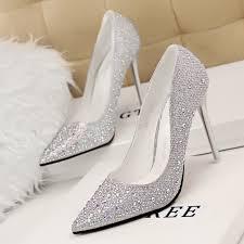2017 new fashion women silver rhinestone wedding shoes