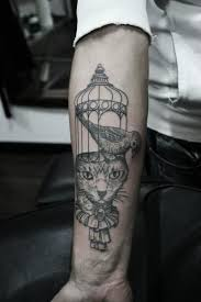 cat bird cage tattoo by ottorino d u0027ambra