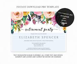 editable floral retirement party invitation template