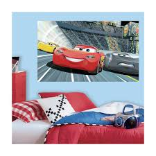 roommates 60 in w x 36 in h cars 3 2 piece peel and stick wall h cars 3 2 piece peel and stick wall decal mural rmk3431psm the home depot