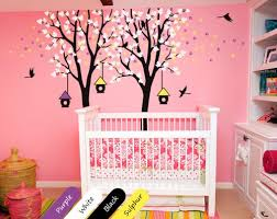 Nursery Wall Mural Decals Baby Nursery Wall Decal Trees Birdhouses Mural Room Sticker
