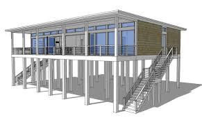 modern piling loft style beach home plan 44073td architectural