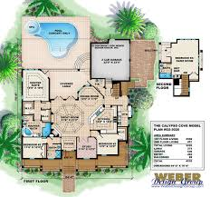 old florida style house plan open layout covered lanai pool