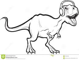 whiteboard drawing t rex dinosaur with headphones stock vector