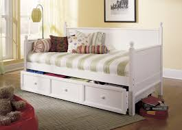bedroom decor ideas with white stained wooden daybed with storage
