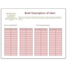 bid sheet template using bidder numbers fundraiser pinterest
