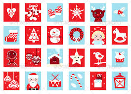 christmas advent calendar advent calendar retro christmas icons vector by beeandglow