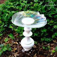 diy repurposed vintage brass lamp bird bath from the thrift store