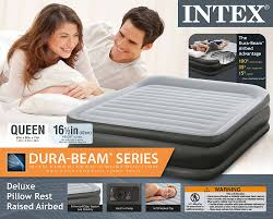amazon com intex queen deluxe pillow rest fiber tech airbed