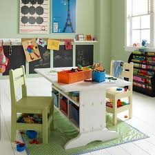 age kids room design with student desks and bright decorating
