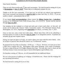 well family reunion letter sample u2013 letter format writing