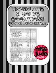 translate u0026 solve simple equations practice worksheet or quiz
