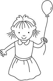 happy small holding a single balloon coloring page for kids