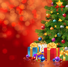 red christmas background with xmas tree and gifts gallery