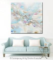 light blue wall art original art abstract blue white painting large 48 coastal wall