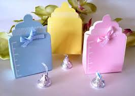 10 baby shower favor boxes yellow blue pink bottle boy