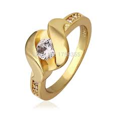 gents ring finger fashion 18k gold plated unisex anel white zircon geometric charm