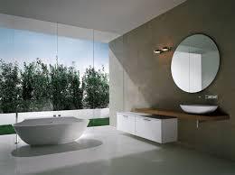 amazing bathroom with white scoop bathtub big glass window white