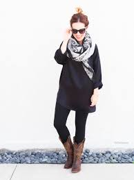 s boots style casual cowboy boots oversized scarf dvf silk black tunic