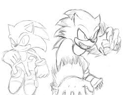 sonic the hedgehog and sonic the werehog sketch by shadow chan15