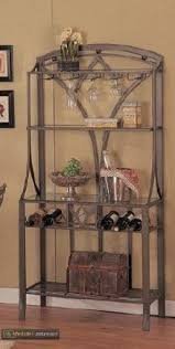 metal bakers rack with wine storage foter