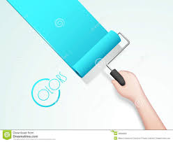 human hand painting wall with roller brush stock photo image