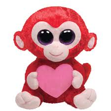 ty beanie boos charming red monkey heart glitter eyes