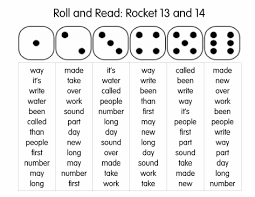 roll and read rocket words roll dice and read those words as