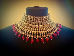 bridal choker necklace images Goldplated red sabyasachi style choker necklace earring tikka set jpeg
