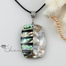 black necklace pendants images Rhombus patchwork sea water rainbow abalone black yellow oyster jpg