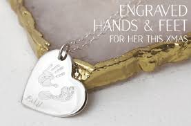 Engraved Necklaces For Her Fingerprint U0026 Handprint Jewellery In Gold U0026 Silver By Hold Upon Heart