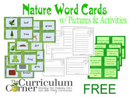 Words Cards Nature Word Cards W Activities The Curriculum Corner 123