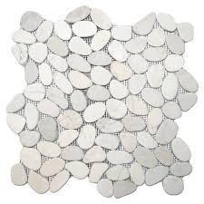 bathroom sliced river rock tile white pebble tile shower floor