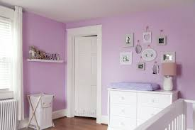 love the serene paint color in this purple nursery purple